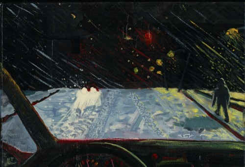 An oil painting, depicting the view from inside the driver's seat of a car. It is nighttime, the road is covered with snow, and a person is walking along the sidewalk next to the road.